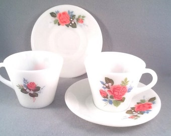 Two Pyrex cottage rose cup and saucers