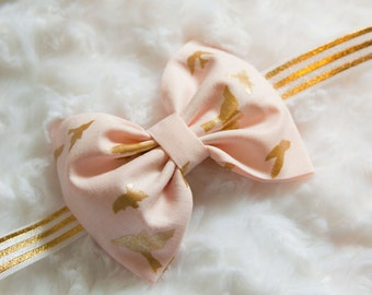 Pink & Gold Metallic Birds Hair Bow