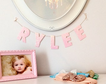Pink Sparkle Glitter Name Banner Personalized, Nursery Banner, Nursery Decor, Pink Nursery, name garland, personalized baby