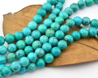 15.5 INCH  8MM Turquoise Gemstone Beads  Smooth Round