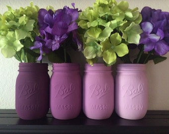 Purple Ombre Painted Mason Jars (Set of 4)