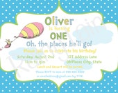 Oh, The Places You'll Go! Party Pack -- Invite, Sign, ONE banner and Happy Birthday Banner -- Blue