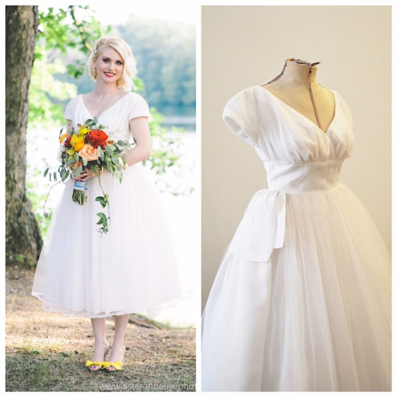Vintage Bridal 1950 39 S Tea Length Wedding Dress By MirandasBridal