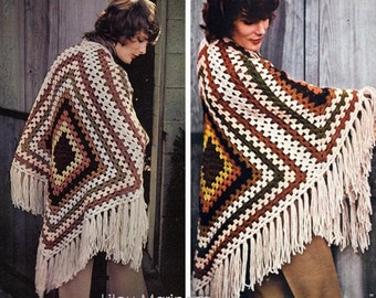 Crochet Poncho Pattern Vintage 70s Crochet Shawl Pattern Crochet Wrap Pattern Granny Square Poncho Crochet Blanket Fringe Wrap