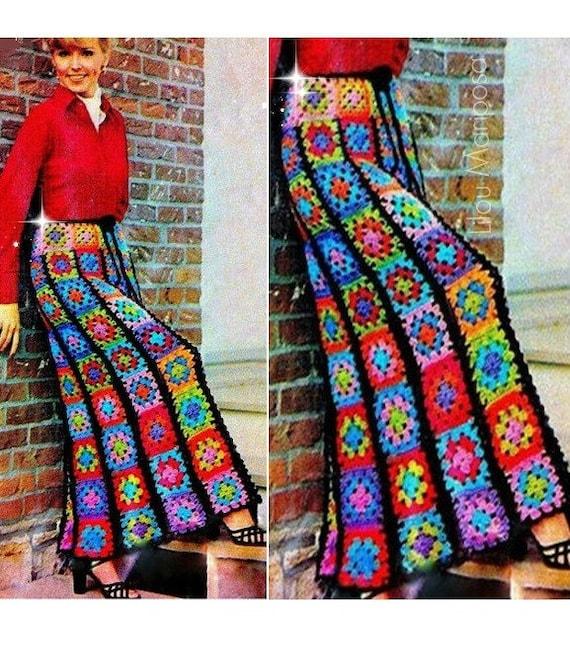 Crochet Pattern Vintage 70s Granny Squares Long Maxi
