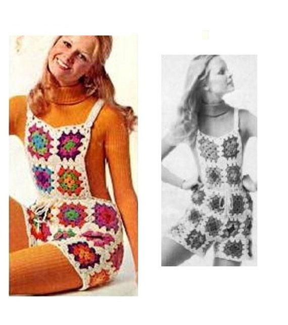 Crochet Shorts Pattern Vintage 70s Crochet Overall Shorts