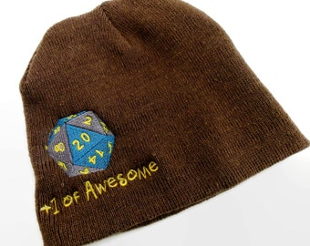 """D20 skullcap Embroidered with 20 sided dice and """"+1 of AWESOME"""", Beanie for RPG players, Dungeons and Dragons hat, Nerdy Cap"""