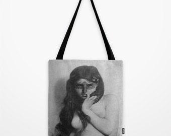 Vintage Portrait Tote Bag - Graphic Tote Bag - Indie Tote Bag - Shopping Bag - Designer Tote Bag - EcoFriendly Bag -