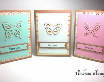 Set of 3 Handmade Butterfly Cards