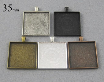 25 Pieces 35mm SquarePendant Tray, 35mm Square Cabochon Setting in Silver, Bronze, Copper, Antique Silver and Black