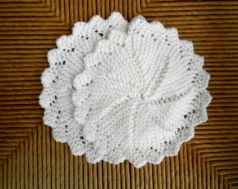 Set of Two Hand Knitted Doily-Style Dish/Wash Cloths in White