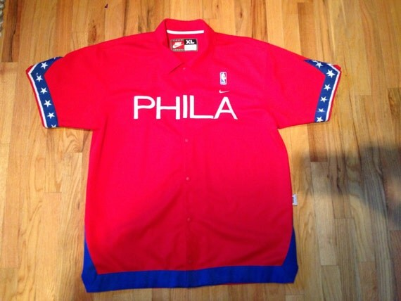 Philadelphia ers nba button up shooting shirt nike size mens