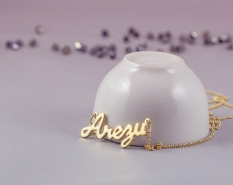 Gold Name Necklace, Custom Name Necklace, Personalized Name Necklace, Name Plate Necklace, Custom Gold Necklace, Gold Personalized Necklace