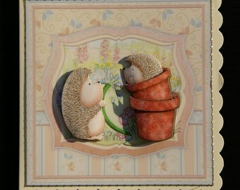 Two Cute Hedgehogs - Handcrafted in UK - 3d decoupage Card