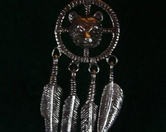 Native American Medicine Wheel with Bear - Sterling Silver Pendant