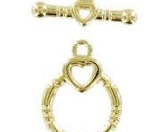 Toggle - Heart Toggle Clasp - Pack 5