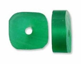 Resin Square Slice - Green - 12mm Irregular - 30 pieces