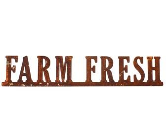 "Steel ""FARM FRESH"" White or Rusty Patina"