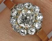 1.50ct Antique Vintage Victorian Old Mine Diamond Cluster Engagement Wedding 18k Yellow Gold EGL USA