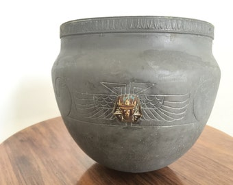 Antique Arts & Crafts Bowl Pewter Brass Egyptian Revival