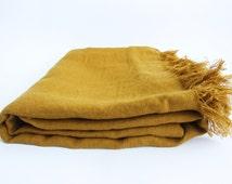 Linen blanket - Mustard 100% linen blanket- Soft mustard/gold Baltic linen blanket/Bedspread/Bed cover/Plaid