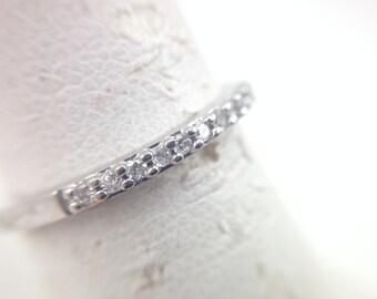 0.14cts Micro Pave set Diamond 14k White Gold Anniversary Band Size 7- 239466