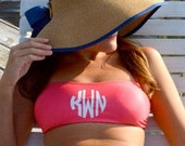 Solid Bandeau Bathing Suit Top - Customize with Vinyl - Monogram Gift