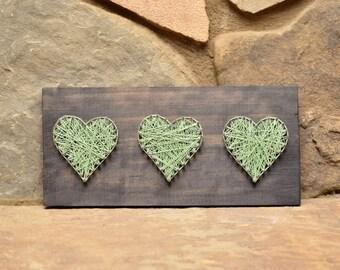 Three Hearts String Art, Wood Decor, Rustic Decor, Wood Wall Art, Home Decor