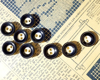 Small buttons vintage two-tone Navy Blue and white plastic 17mm - set of 9