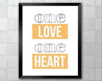 Bob Marley – One Heart – Song Lyric Quote 8x10 11x14 Typography Wall Art Print