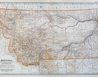 Antique Map : Montana, USA, US State Map. Encyclopedia Britannica, 1890s (107)