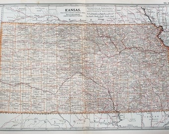 Antique Map : Kansas, USA, US State Map. Encyclopedia Britannica, 1890s