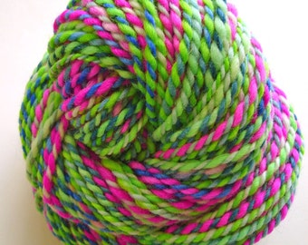 Green and Pink 02--Hand Spun Hand Dyed Corriedale Wool, 2 ply,  3.7 oz,  102 yards