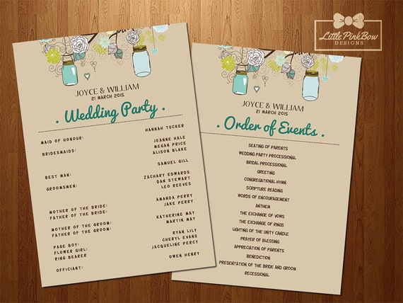 mason jar wedding program printable wedding party names and