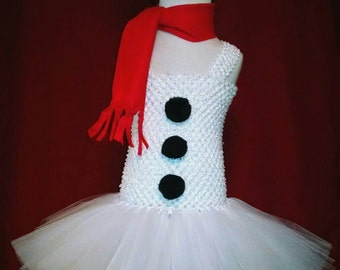 Snowman Tutu Dress for Toddler and Girls - Tutu Dress, Scarf, Top Hat Headband Included - Made to Order