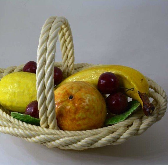Ceramic Fruit In Basket Centerpiece Possibly Capodimonte