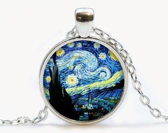 Van Gogh Starry Night art pendant. Van Gogh Starry Night  Necklace. Van Gogh jewelry, moon, stars. Birthday gift