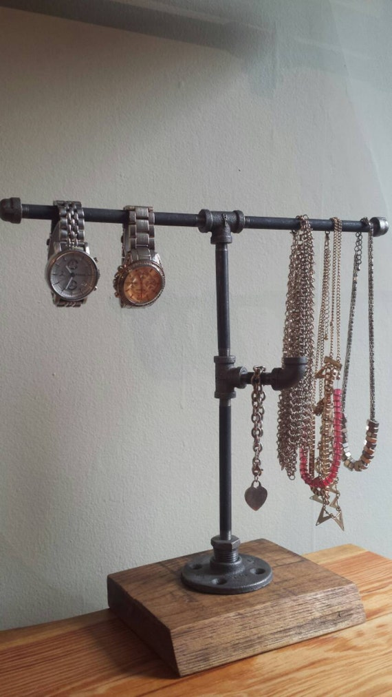 Industrial pipe jewelry stand jewelry by pipeandwooddesigns for Copper pipe jewelry stand