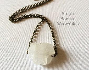 Quartz necklace  with antiqued bronze chain