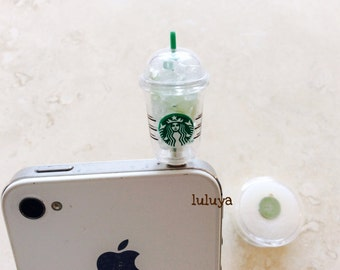 High Quality Starbucks Glow in the Dark  Dust Plug Phone Charm Earphone Cap Cellphone and Home Button Iphone