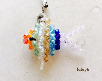 Miniature Tropical Fish Bead Crystal Cellphone Cell Phone Charm Zipper Pull Keychain Gift