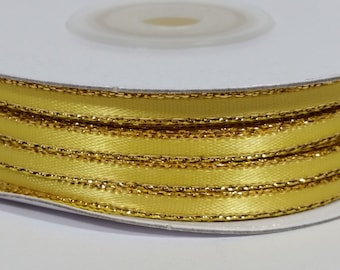 "1/8"" Satin Ribbon with Gold Edge - Canary"