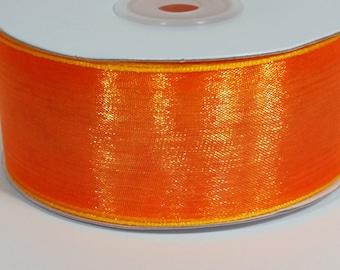 """1 1/2"""" Two Toned Sheer Ribbon - Orange - 25 Yards"""