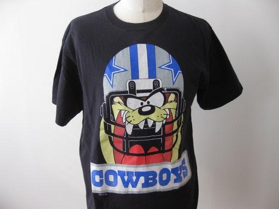 Vintage dallas cowboys football shirt taz nfl xl warner bros for Dallas cowboys fishing shirt