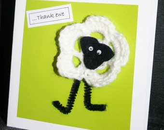 Handmade Thank you card with a hand crocheted woolly sheep