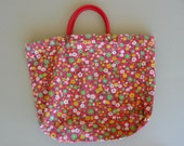 Original Early 1970's Vintage Woman's Flowered Canvas Large Tote With Red Plastic Handles With Brass Clips, Clean Gray Vinyl inside,
