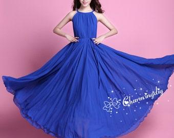 60 Colors Chiffon Blue Long Party Dress Evening Wedding Sundress Summer Holiday Maternity Dress Beach Dress Bridesmaid Dress Maxi Skirt J009