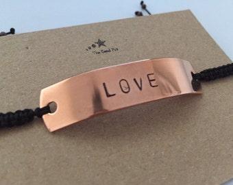 Aluminium or copper Hand-stamped, Macrame Bracelet - Love