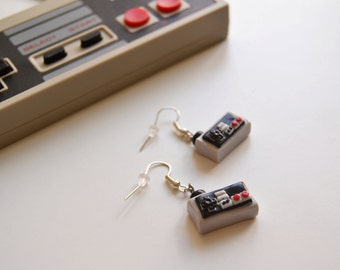Nintendo controller earrings, Geek earrings, NES earrings, Fimo clay earrings