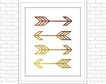 Gold Arrows Print | 8x10 Printable Art Print | Tribal Wall Art | Home Printable | Arrow Subway Art | Instant Download Printable